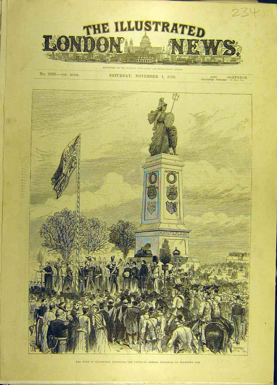 Print 1890 Duke Edinburgh Armada Memorial Plymouth-Hoe 348691 Old Original
