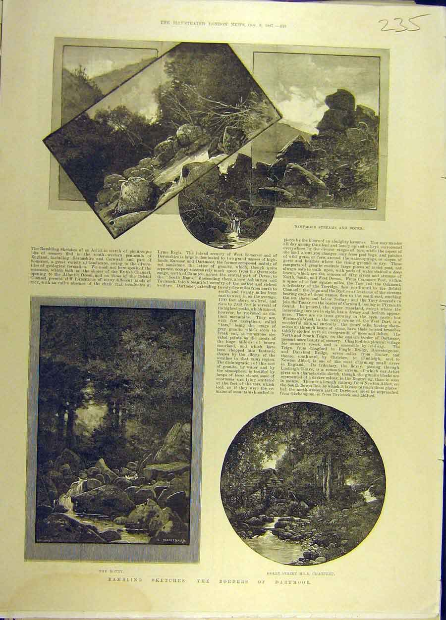 Print 1887 Dartmoor Sketches Montbard Bovey Chagford 358691 Old Original