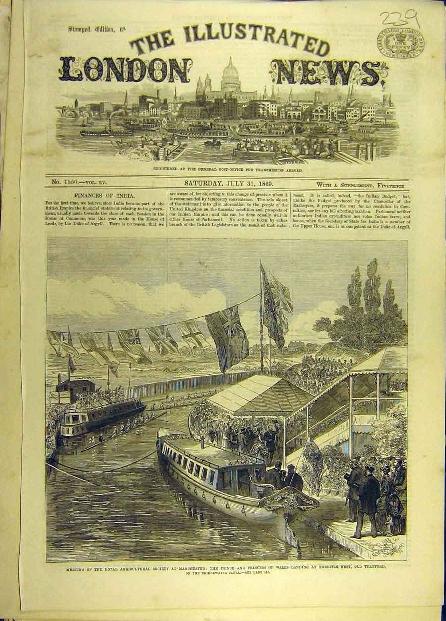 Print 1869 Mnchester Prince Princess Wales Throstle Trafford 398691 Old Original