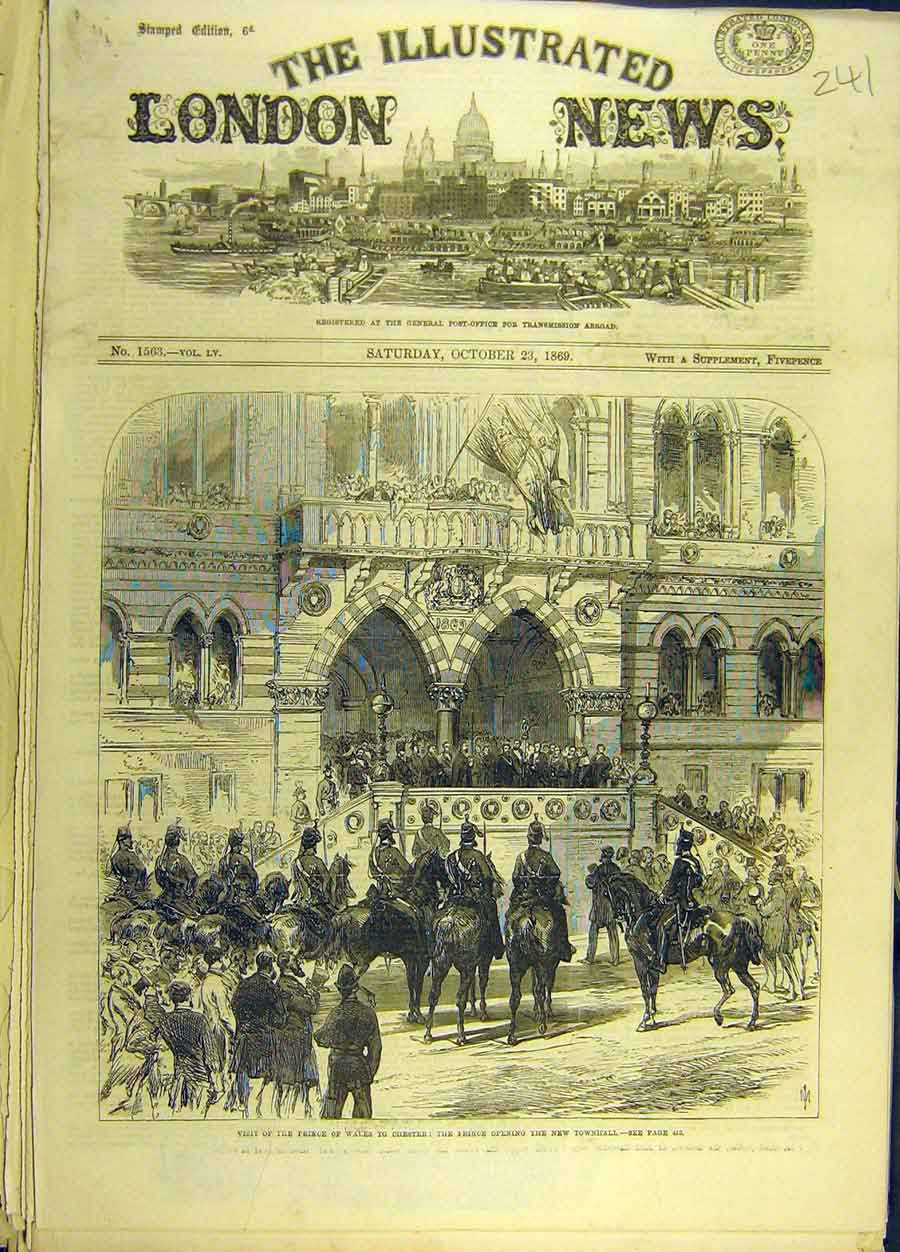 Print 1869 Prince Wales Chester Townhall Social History 418691 Old Original