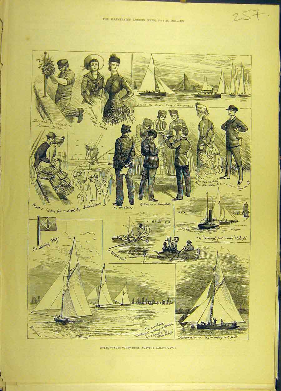 Print 1883 Royal Thames Yacht Club Amateur Sailing-Match 578691 Old Original