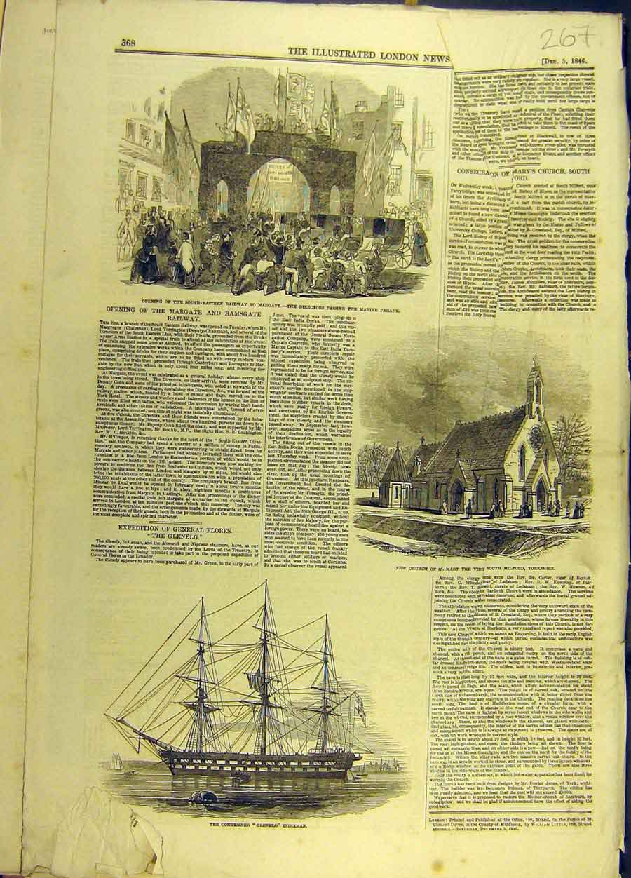 Print 1846 Railway Margate Church Milford Glenelg Indiaman 678691 Old Original