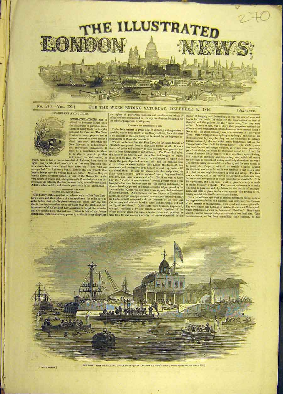 Print 1846 Royal Visit Arundel Castle Queen Portsmouth 708691 Old Original