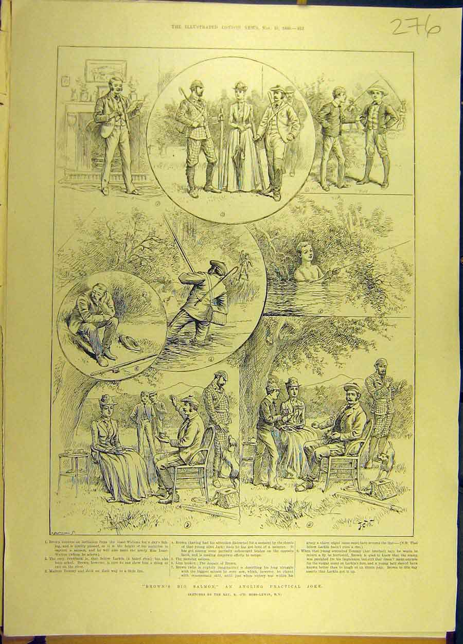 Print 1890 Brown Salmon Angling Joke Sketch Ross-Lewin 768691 Old Original