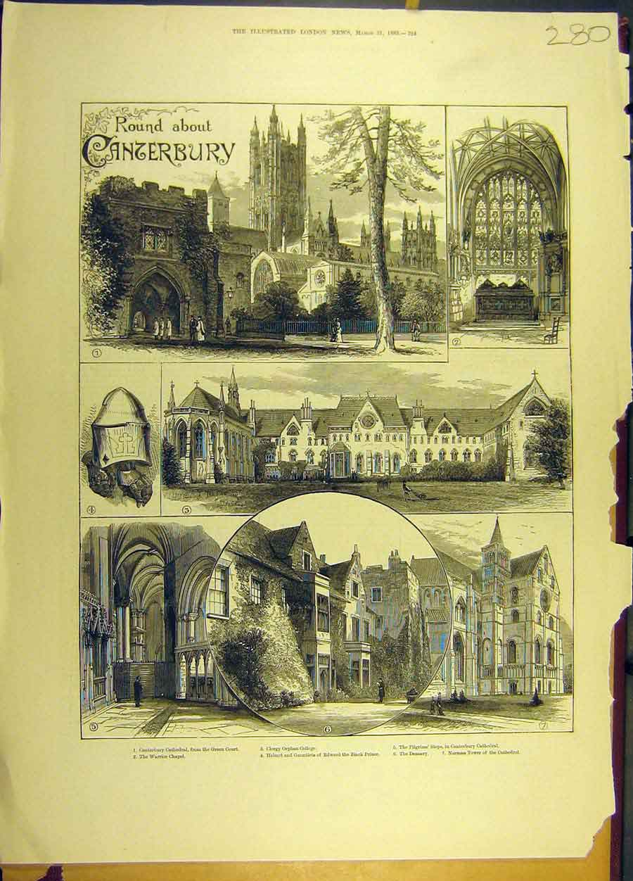 Print 1883 Canterbury Catherdral College Chapel Tower 808691 Old Original
