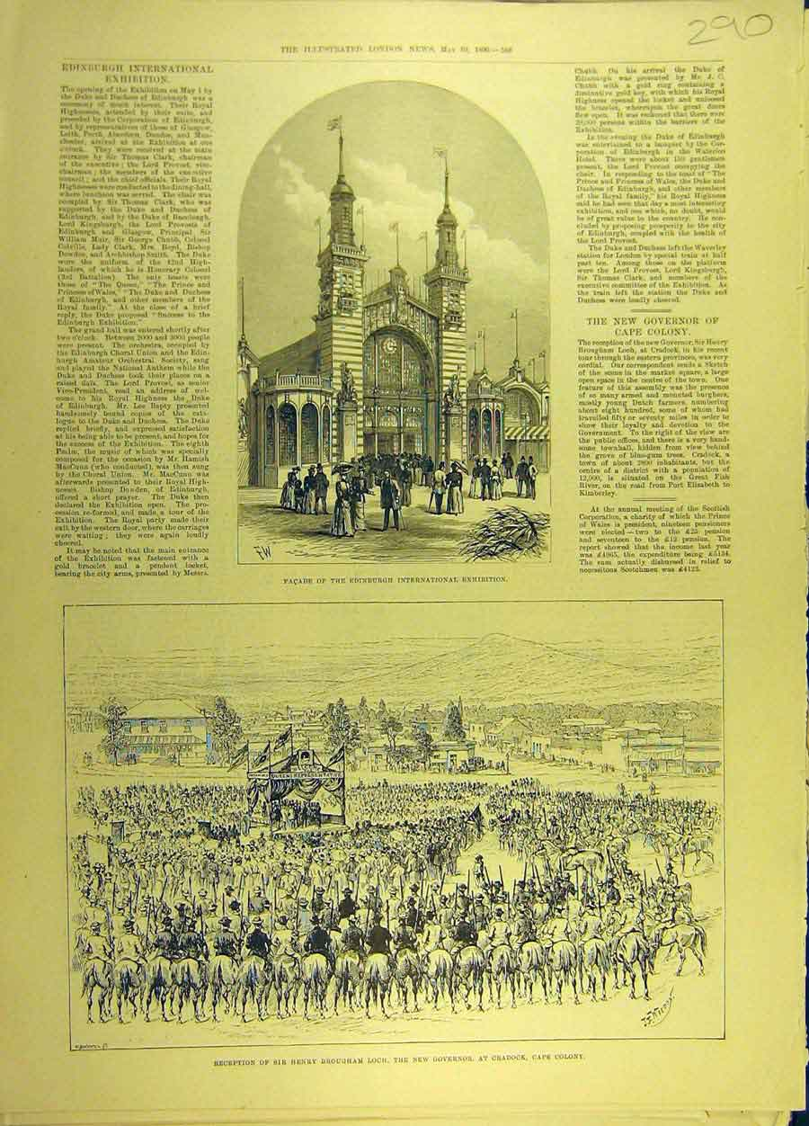 Print 1890 Facade Edinburgh Int Exhibition Sir Loch Cradock 908691 Old Original