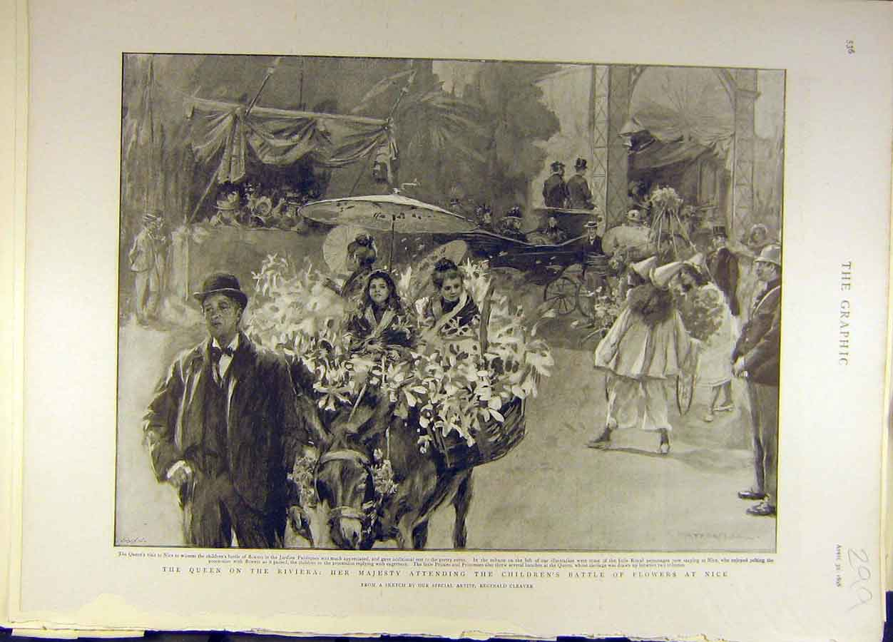 Print 1898 Queen Royal Riviera Battle Flowers Nice Italy 998691 Old Original