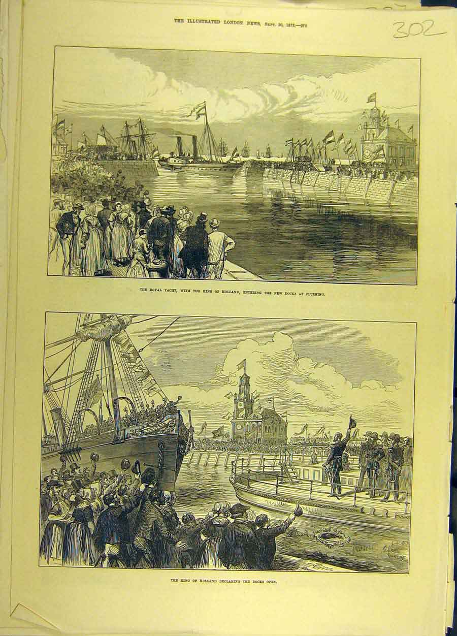 Print 1873 King Holland Docks Open Royal Yacht 028691 Old Original