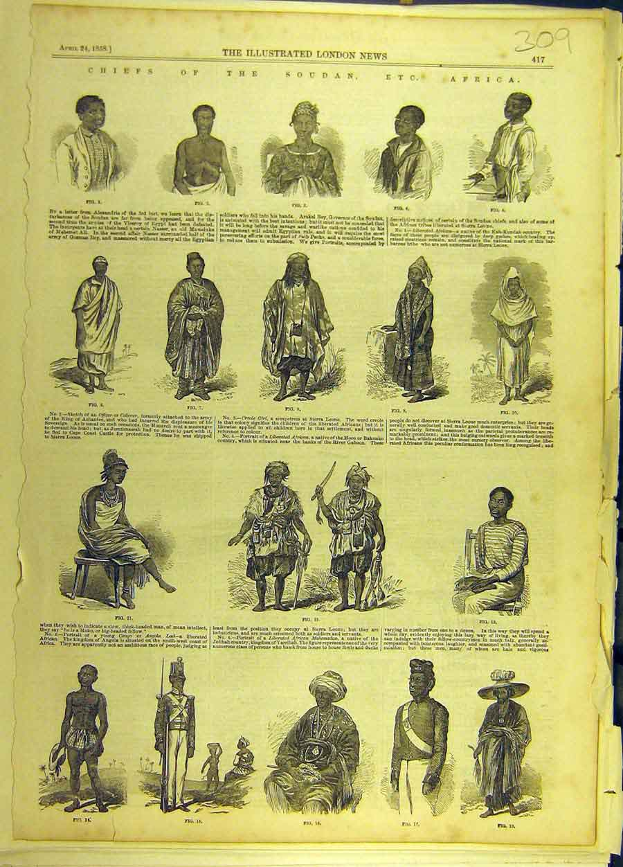Print 1858 Cheifs Soudan Africa Sketches Fashion 098691 Old Original