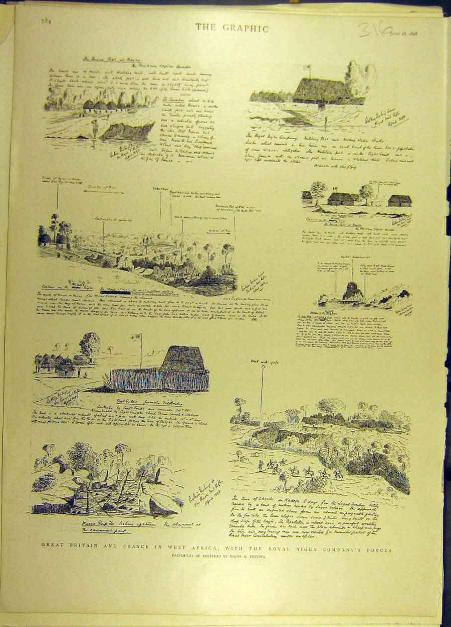 Print 1898 Royal Niger Force Africa Sketches Social History 168691 Old Original