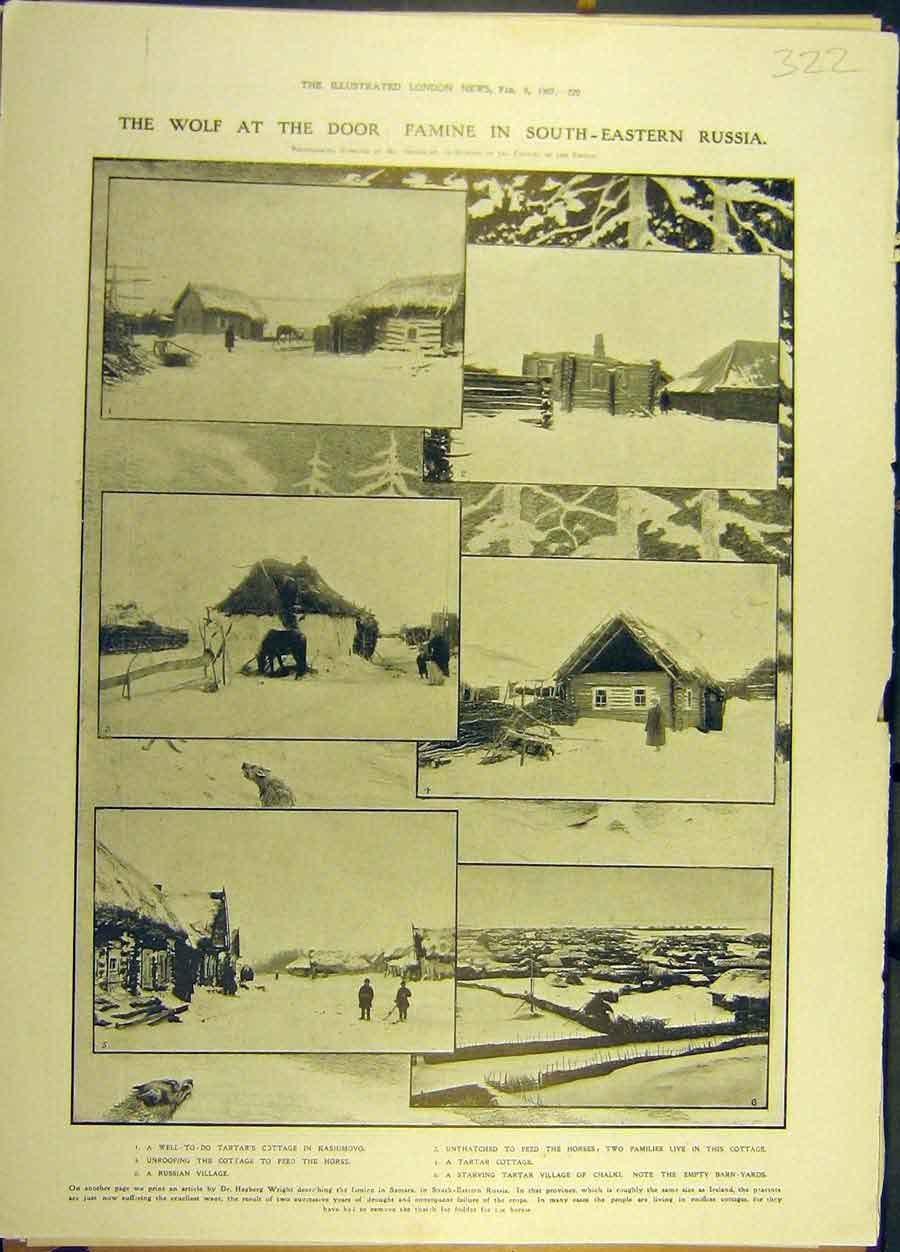 Print 1907 Famine South-Eastern Russia Kashimovo 228691 Old Original