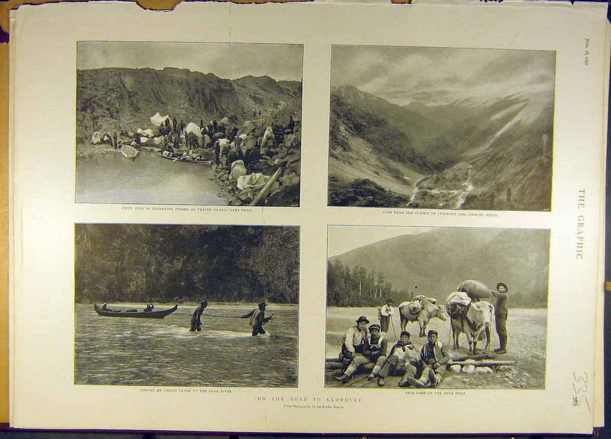 Print 1898 Klondyke Dyea Trail River Chilkoot Pass  Old Original