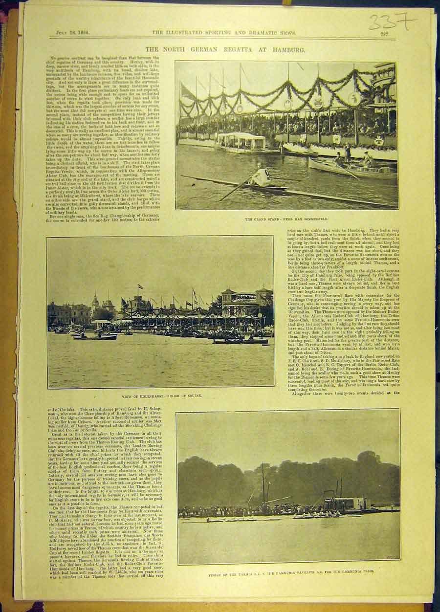Print 1894 Thames Boat Race Hammonia German Hamburg 378691 Old Original