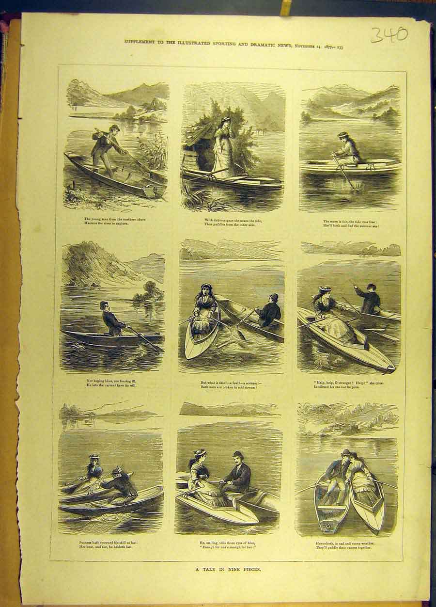 Print 1877 Story Sketches Boat Boy Girl Social History 408691 Old Original