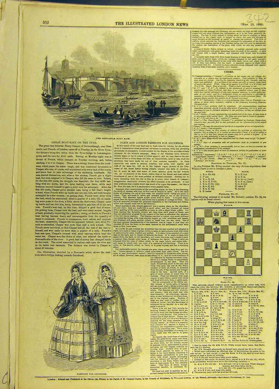 Print 1845 Newcastle Boat Race Paris Fashions Winter 428691 Old Original