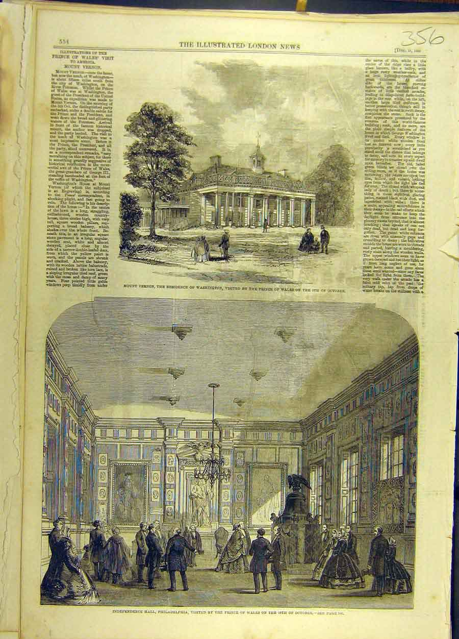 Print 1860 Independence Hall Philadelphia Prince Wales 568691 Old Original