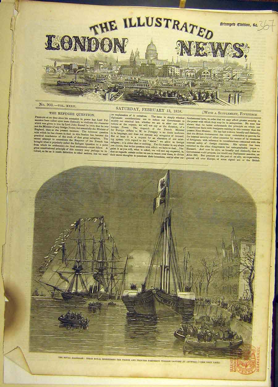 Print 1858 Royal Wedding Antwerp Fleet Prince William 678691 Old Original