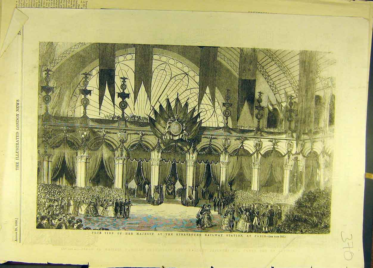 Print 1855 Strasbourg Railway Station Paris France Sketch 708691 Old Original