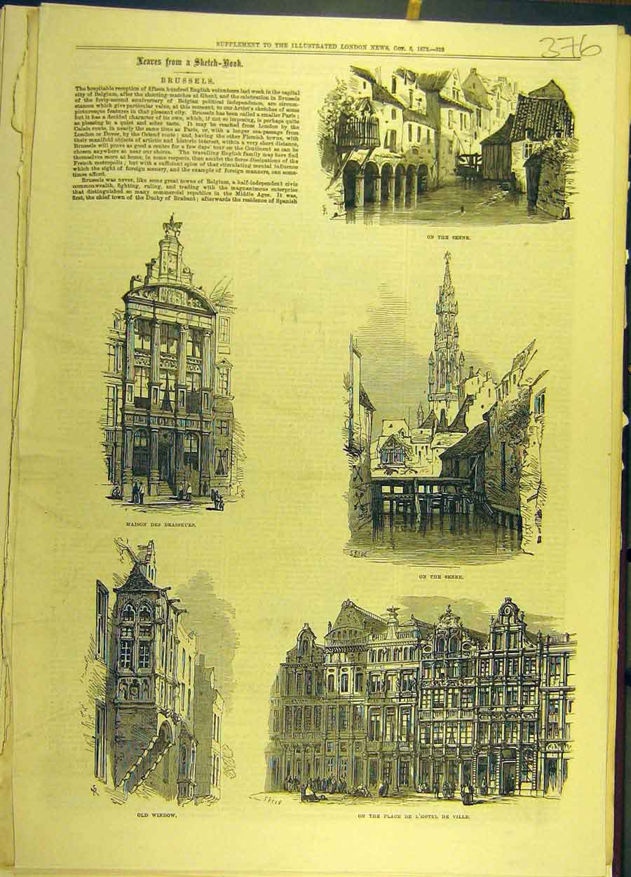 Print 1872 Brussels Senne Sketches Maison-Brasseurs Building 768691 Old Original