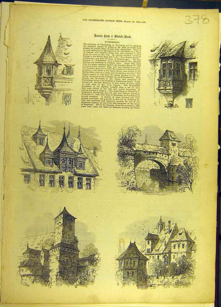 Print 1872 Nuremburg Sketches Buildings Germany Architecture 788691 Old Original