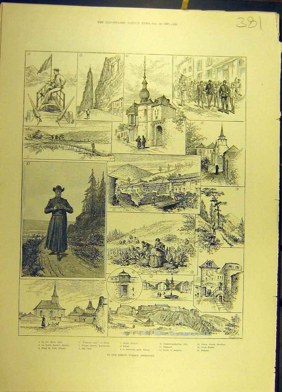 Print 1887 Semois Valley Ardennes France Sketches French 818691 Old Original