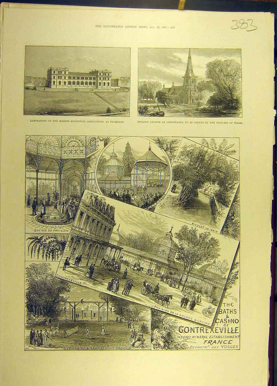 Print 1887 Plymouth Copenhagen Gontrexeville France Sketches 838691 Old Original