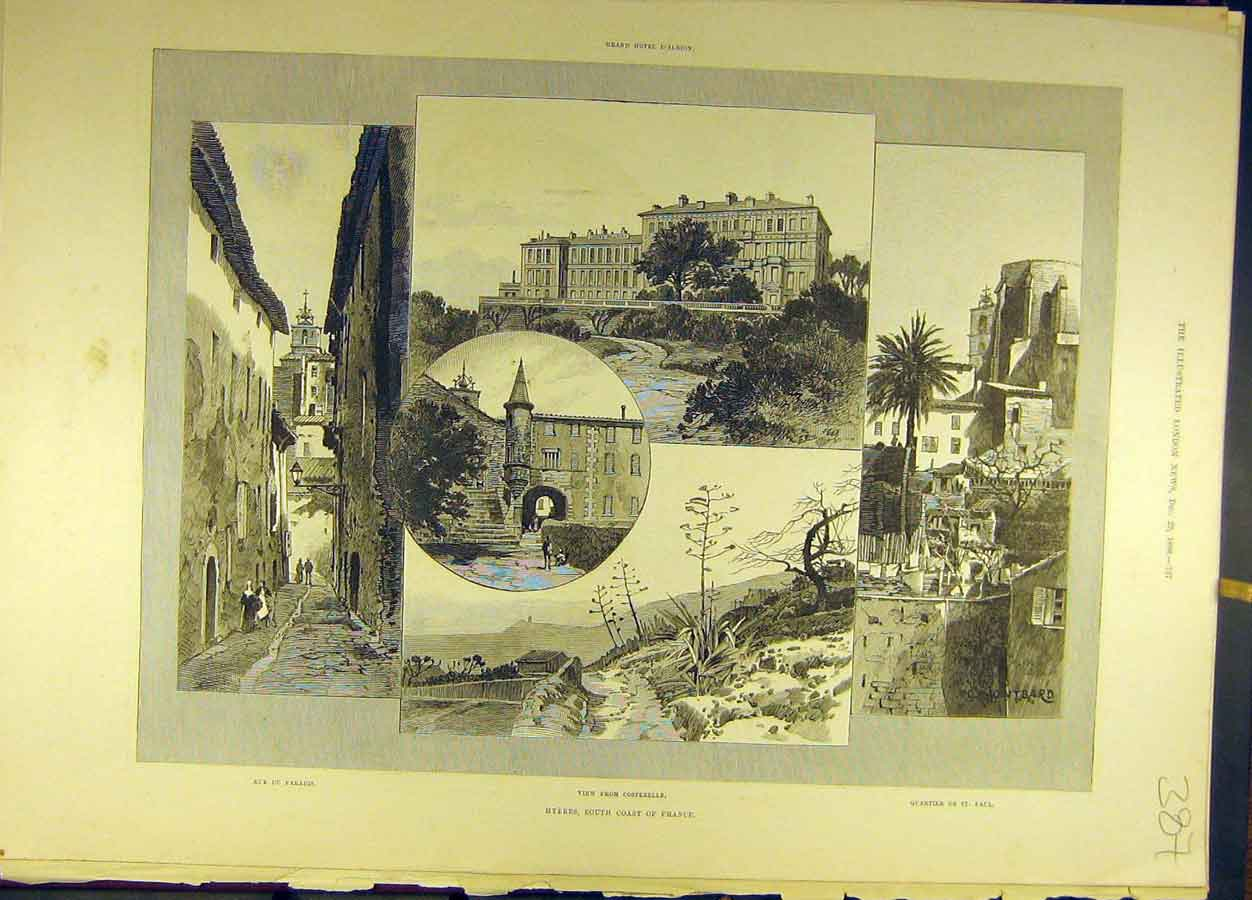 Print 1888 Hyeres France French Sketches Buldings 878691 Old Original