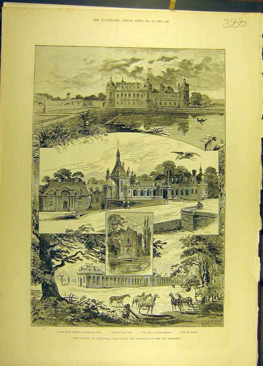 Print 1883 Chantilly Paris France Sketches Duke D'Aumale 888691 Old Original