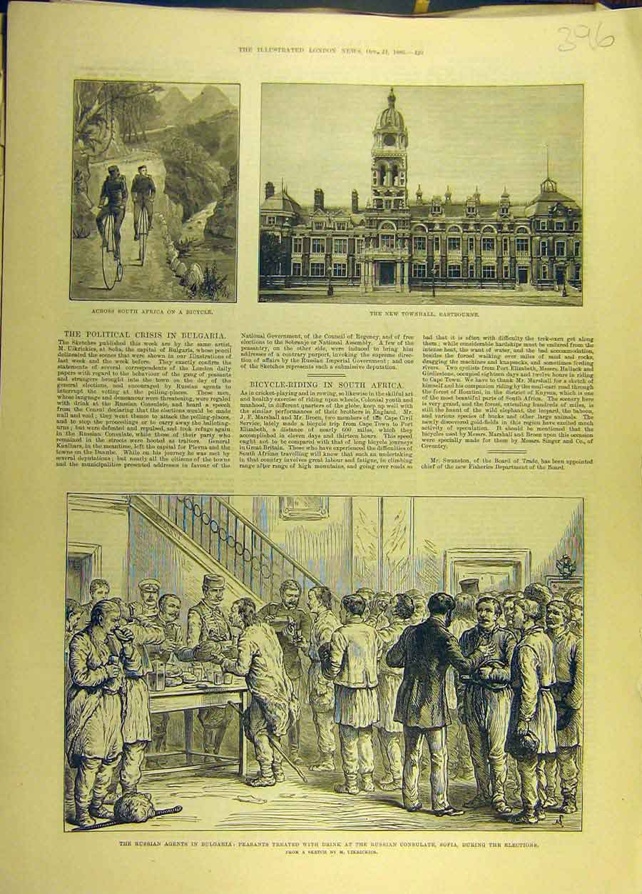 Print 1886 Eastbourne Hall Africa Bicycle Russian Bulgaria 968691 Old Original