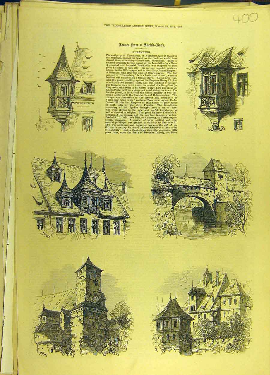 Print 18872 Nuremberg Germany Buildings Architecture 008691 Old Original