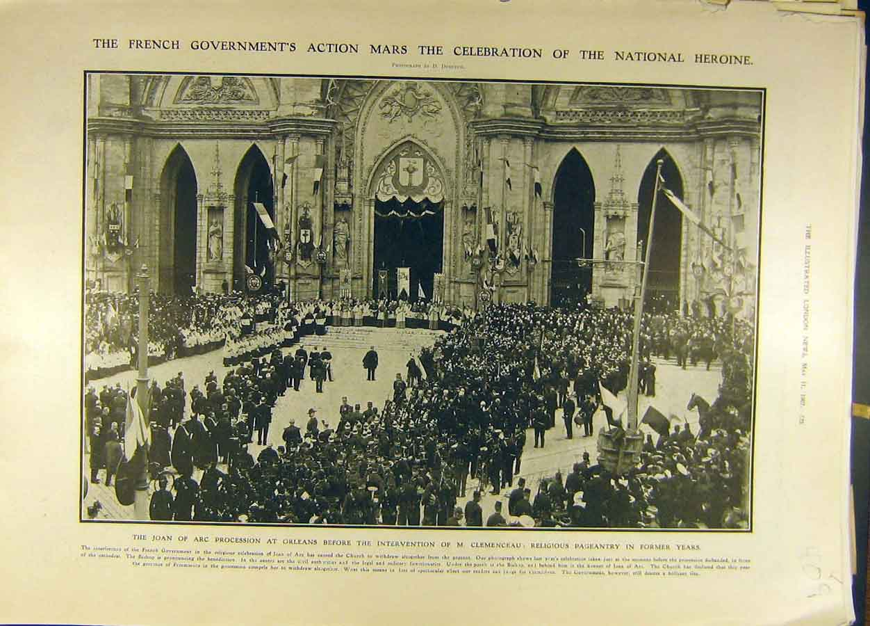 Print 1907 Joan-Arc Procession Clemenceau Religious Pageantry 098691 Old Original