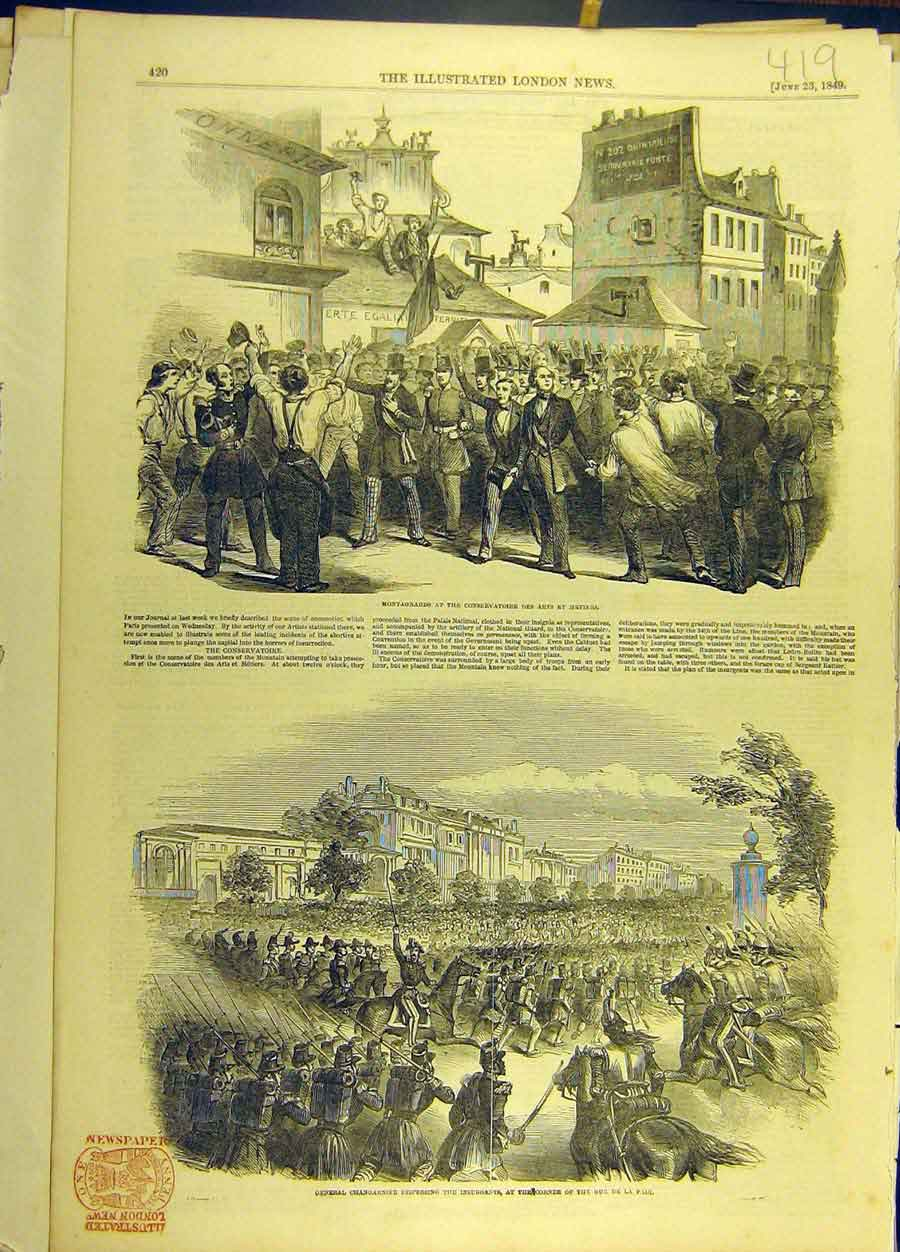 Print 1849 Montagnards Insurgents Paris Changarnier France 198691 Old Original