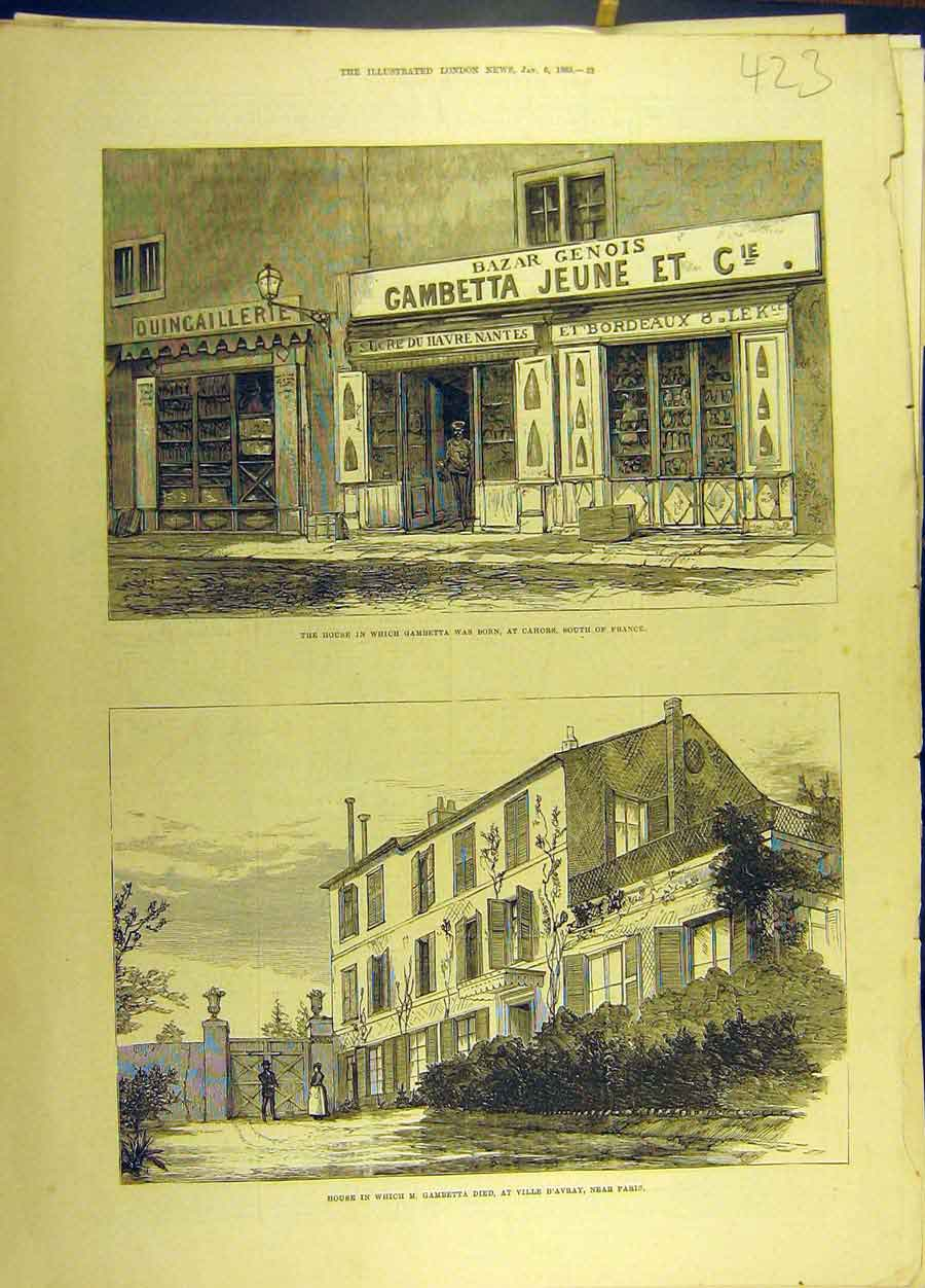 Print 1883 Gambetta Chors France Ville-D'Avray Paris House 238691 Old Original