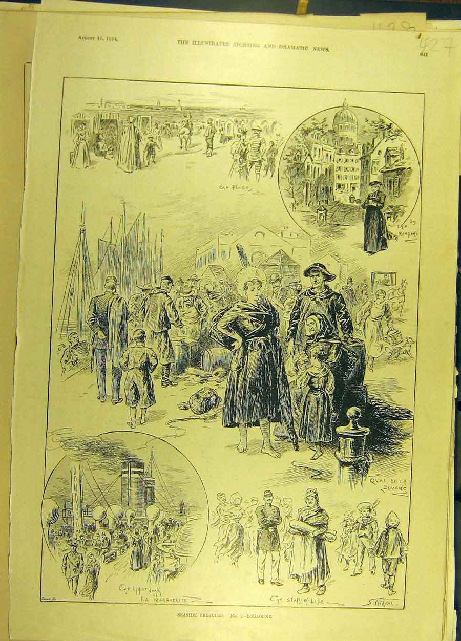 Print 1894 Seaside Sketches Boulogne France French 278691 Old Original