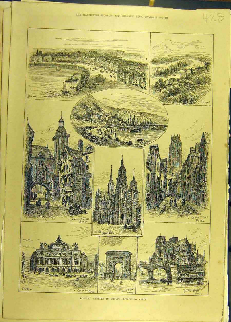 Print 1886 Holiday Sketches View France Dieppe Paris 288691 Old Original