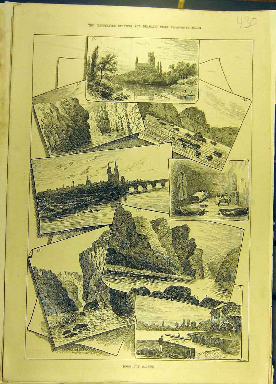Print 1886 Danube River Sketches View Social History 308691 Old Original