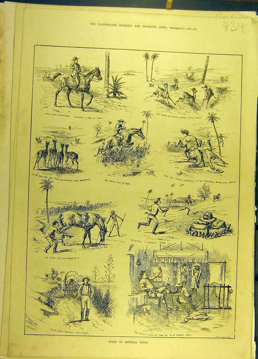 Print 1882 Sport Central-India Riding Hunting Sketches 348691 Old Original