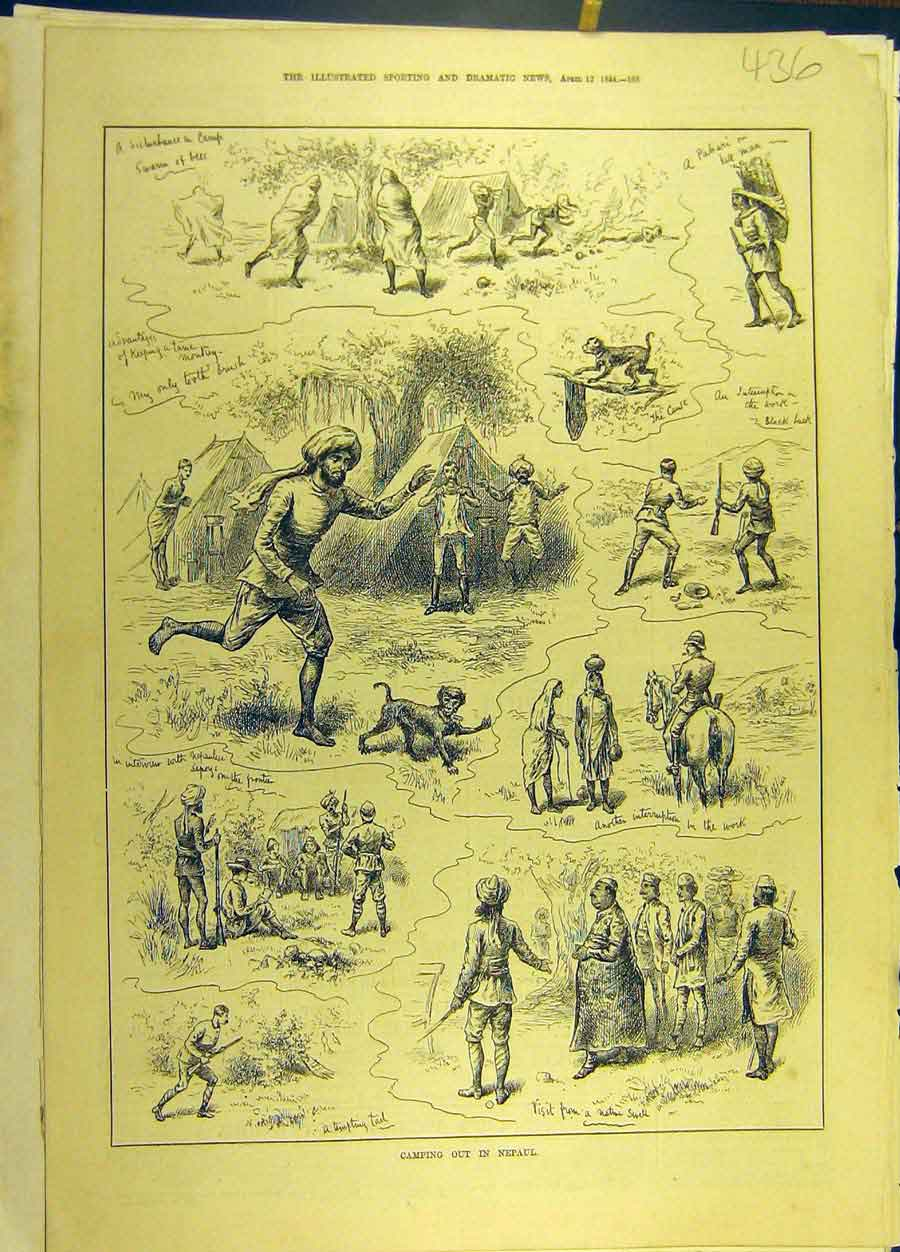 Print 1884 Nepaul Camp Military Monkey Sketches 368691 Old Original