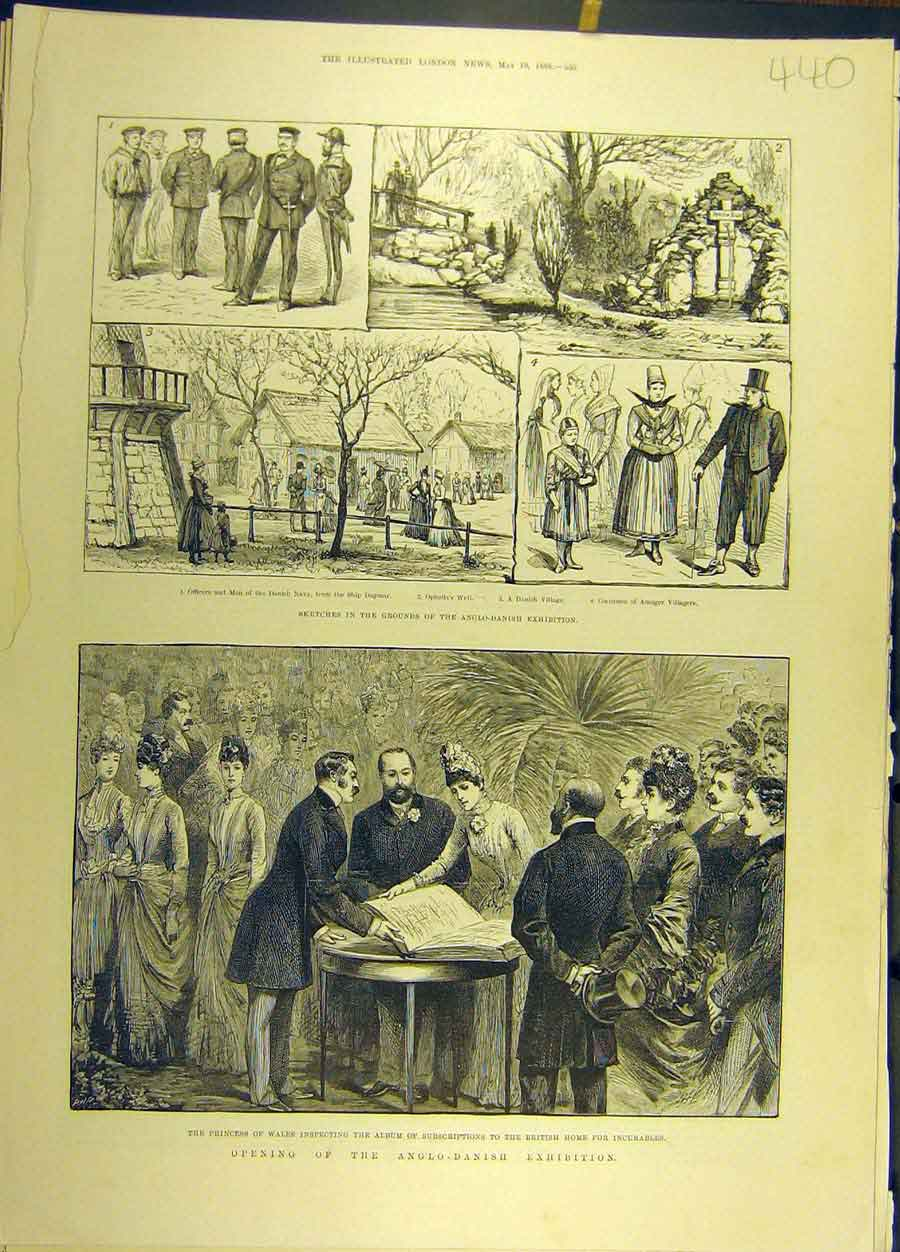 Print 1888 Anglo-Danish Exhibition Sketches Princess Wales 408691 Old Original