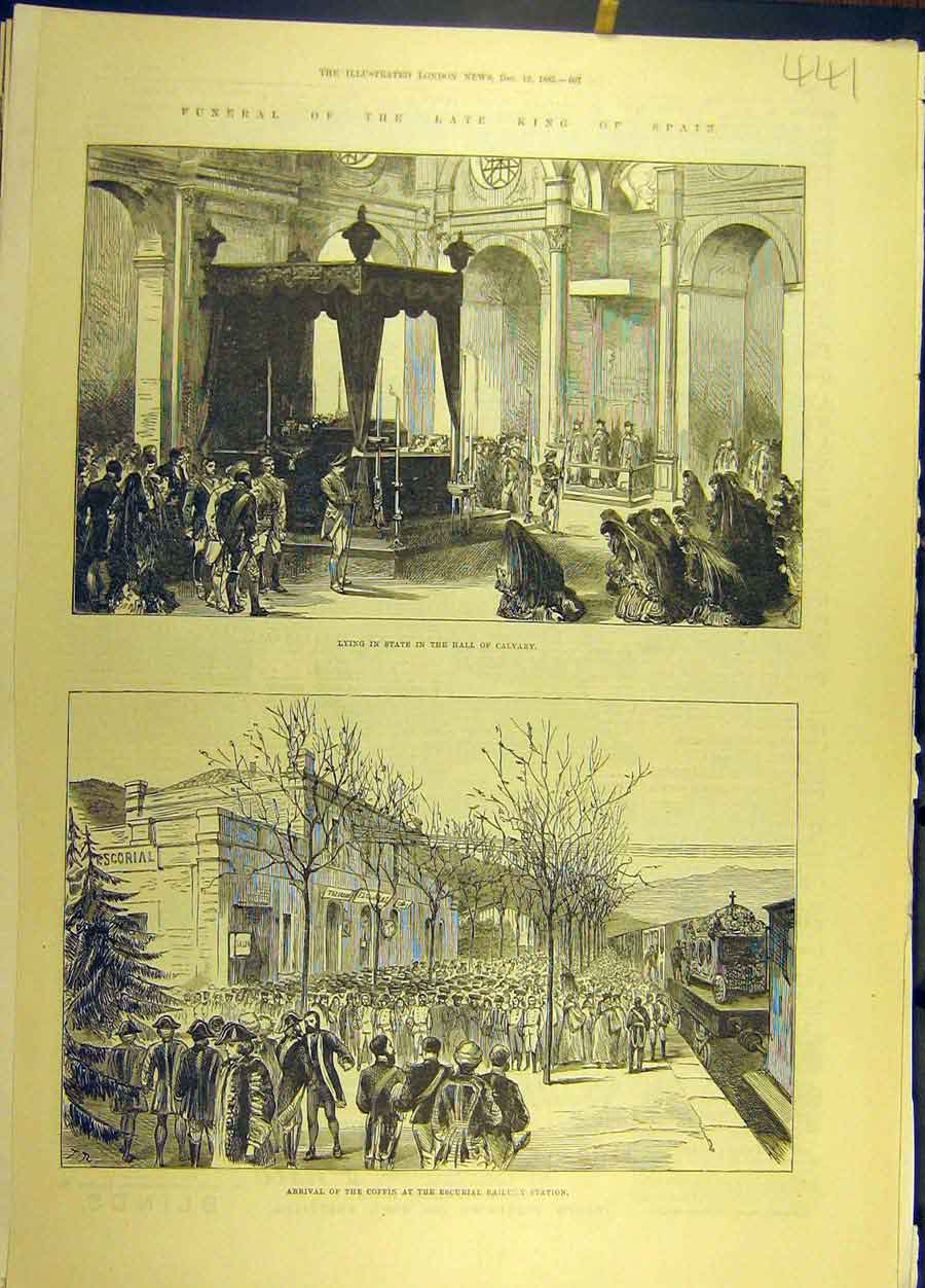 Print 1885 Funeral King Spain Hall-Cavalry Coffin Escurial 418691 Old Original