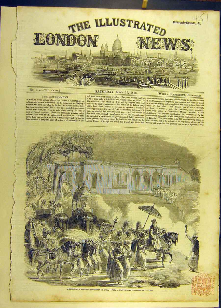 Print 1858 Mussulman Marriage Procession India Indian 518691 Old Original