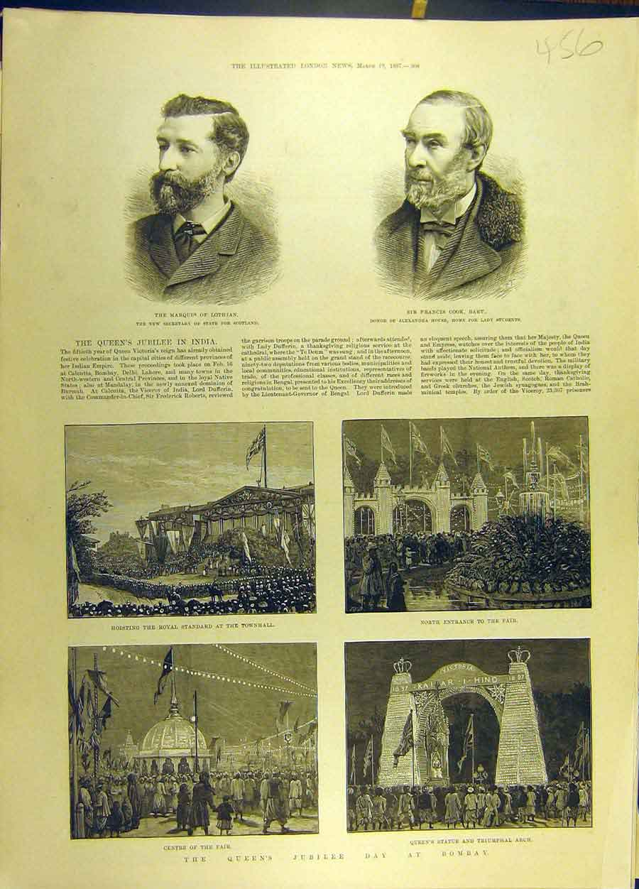 Print 1887 Portrait Lothian Cook Bombay India Jubilee 568691 Old Original
