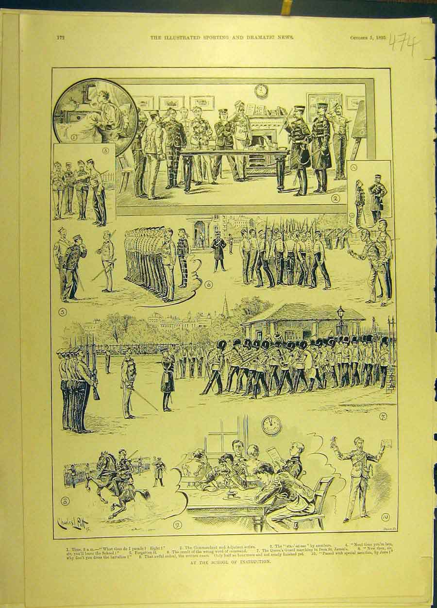 Print 1895 School Instruction Military Soldiers 748691 Old Original