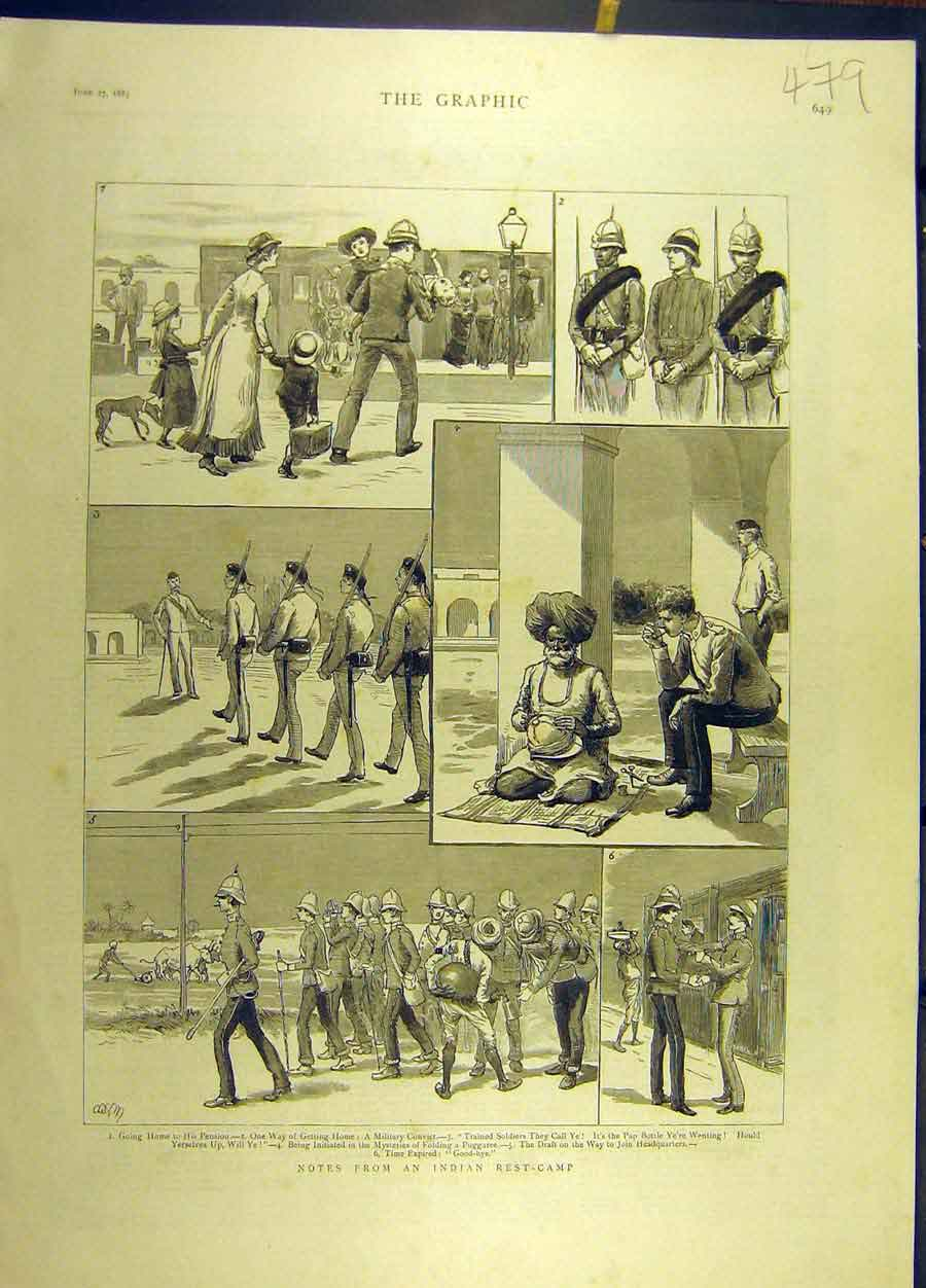 Print 1885 Indian Rest-Camp Military Officers Soldiers 798691 Old Original
