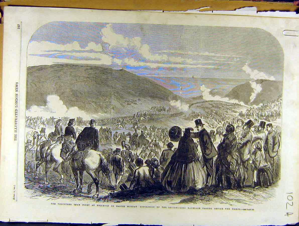 Print 1861 Brighton Volunteer Military Troops Easter-Monday 02A8701 Old Original