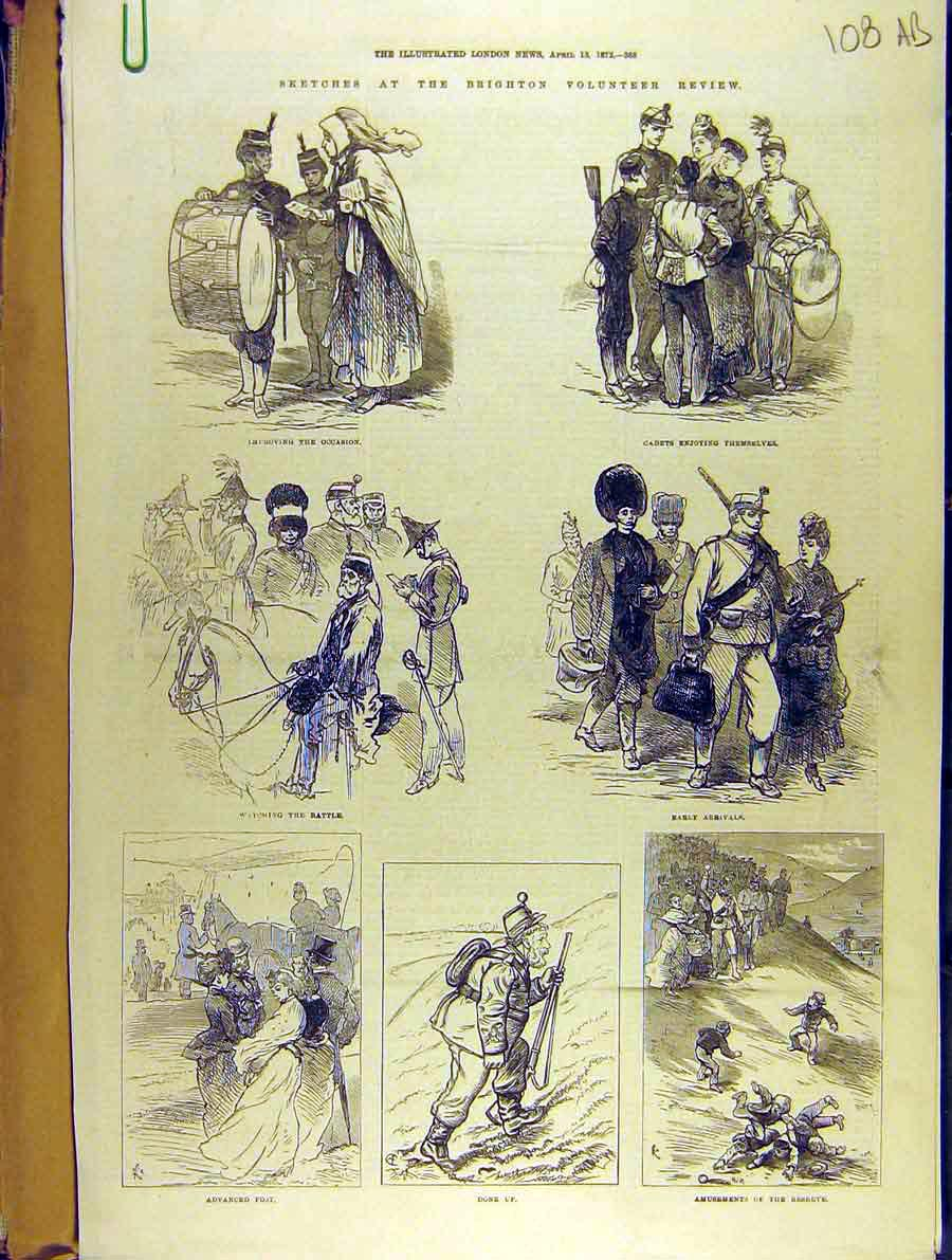 Print 1872 Sketches Brighton Volunteer Review Military 08A8701 Old Original