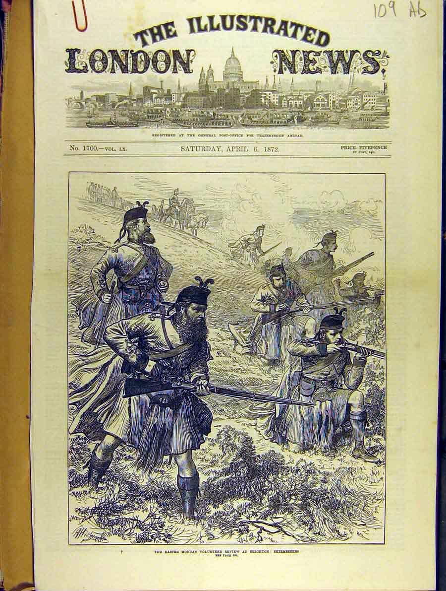 Print 1872 Easter-Monday Volunteer Review Brighton Sketches 09A8701 Old Original