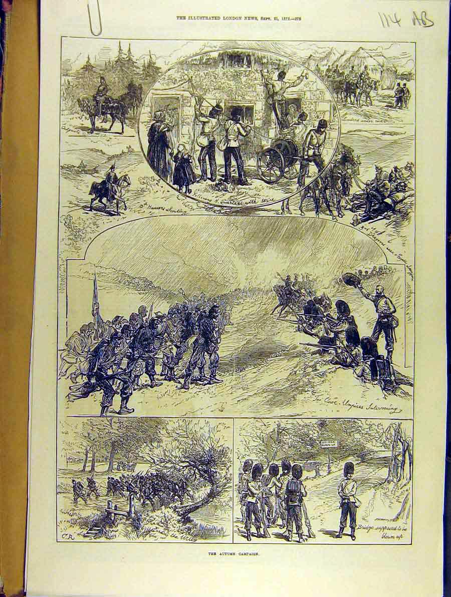 Print 1872 Autumn Campaign Military Review 14A8701 Old Original