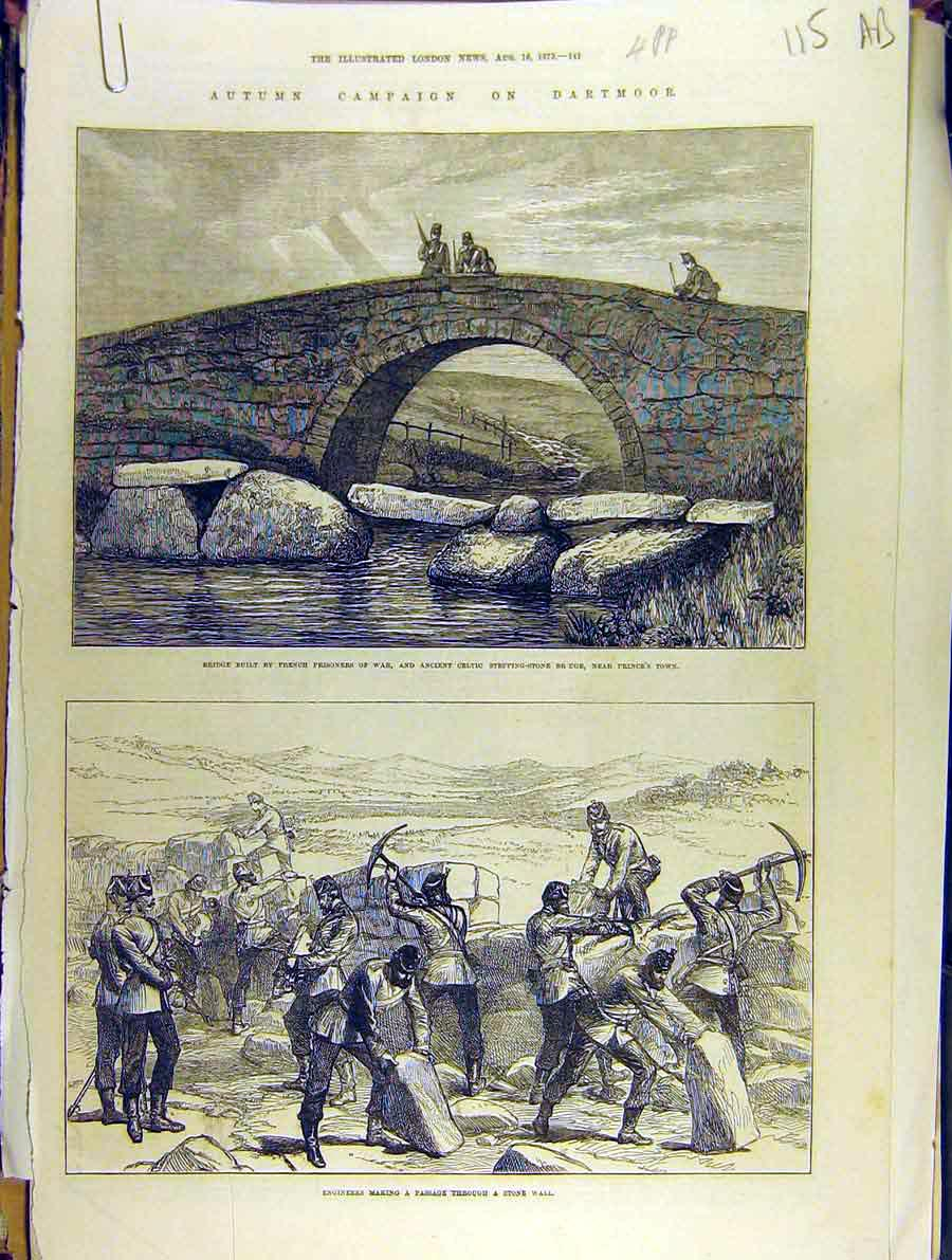 Print 1873 Autumn Campaign Dartmoor Military Blandford 15A8701 Old Original