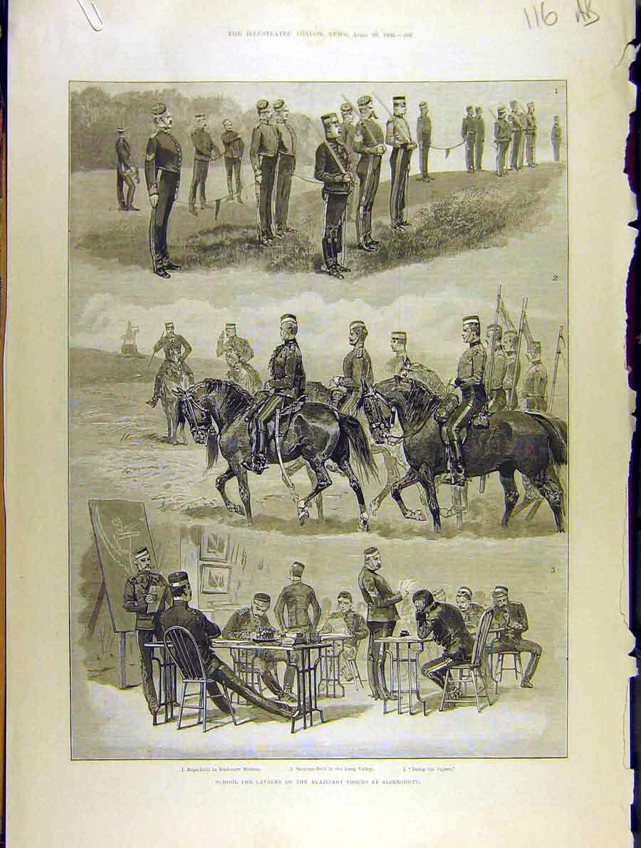 Print 1889 School Cavalry Aldershot Manoeuvres Sketches Camp 16A8701 Old Original